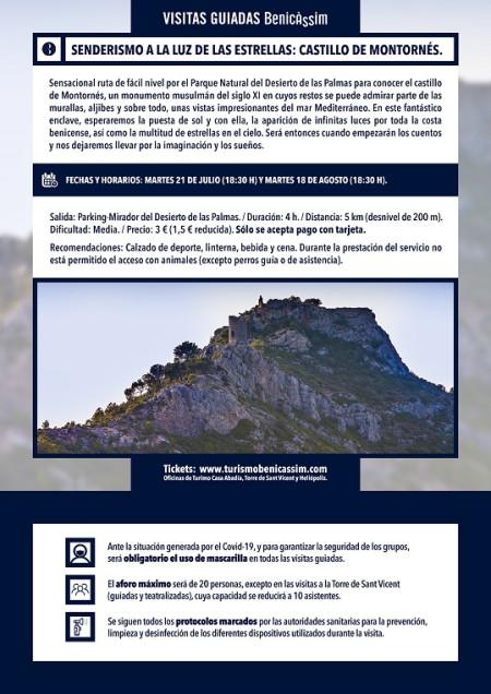 Programa oficial de visitas guiadas. Senderismo a la luz de las estrellas: el castillo de Montornés